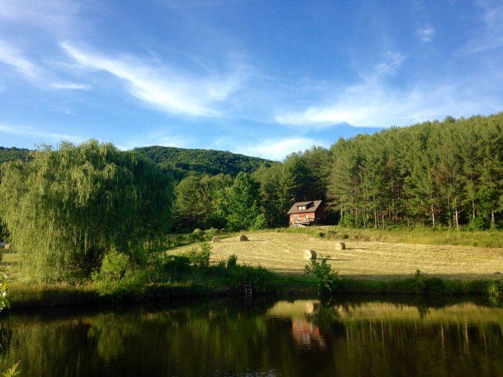 Poplar Cabin across pond