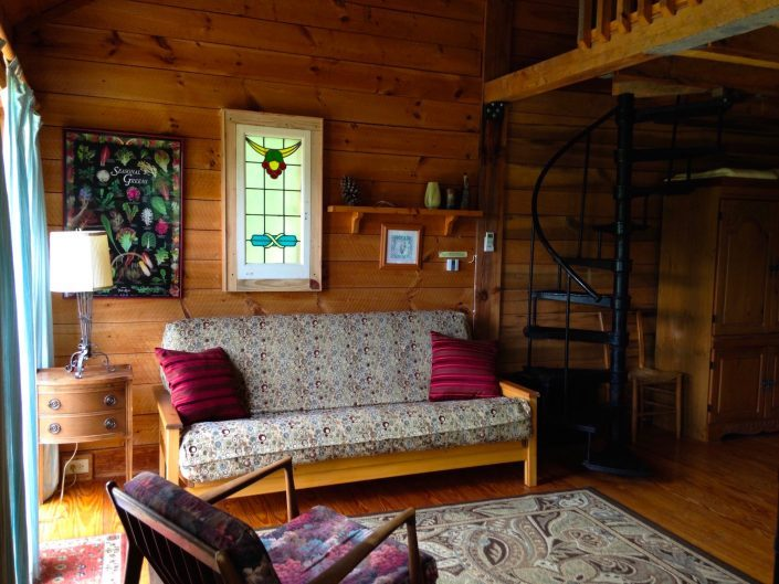 Pine Futon and Spiral Stairs
